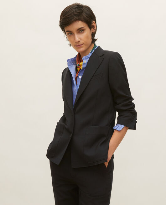 Lightweight smooth wool blazer BLACK BEAUTY