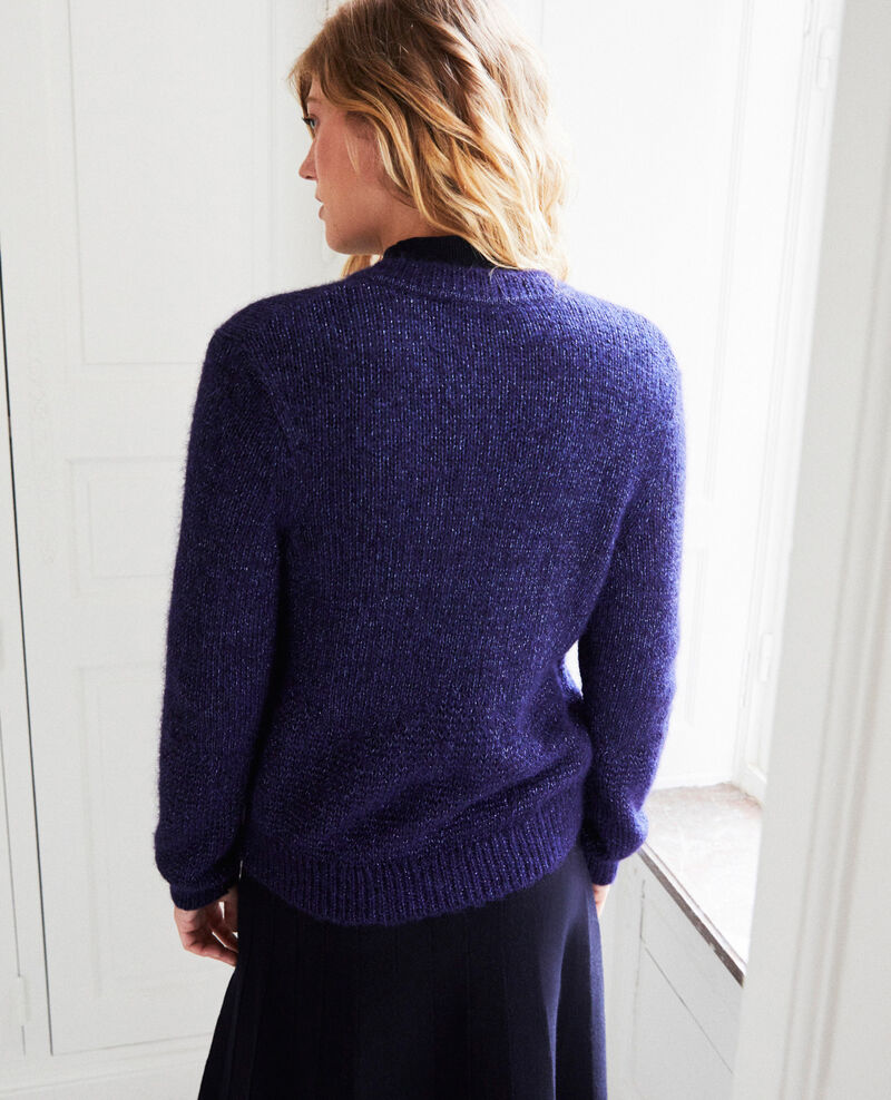 Cardigan with shiny lurex thread Evening blue Jalouse