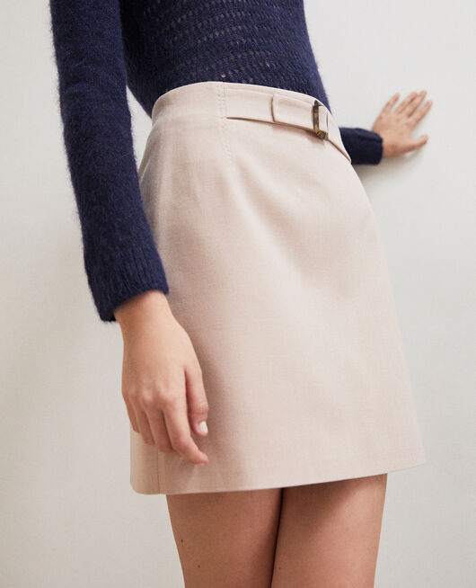 Mini skirt with buckle PINK BEIGE