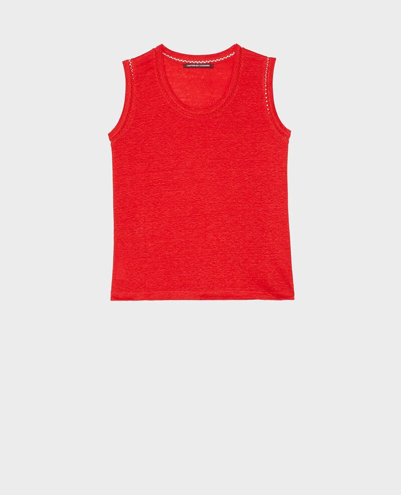 Linen jersey tank top Fiery red Lespa