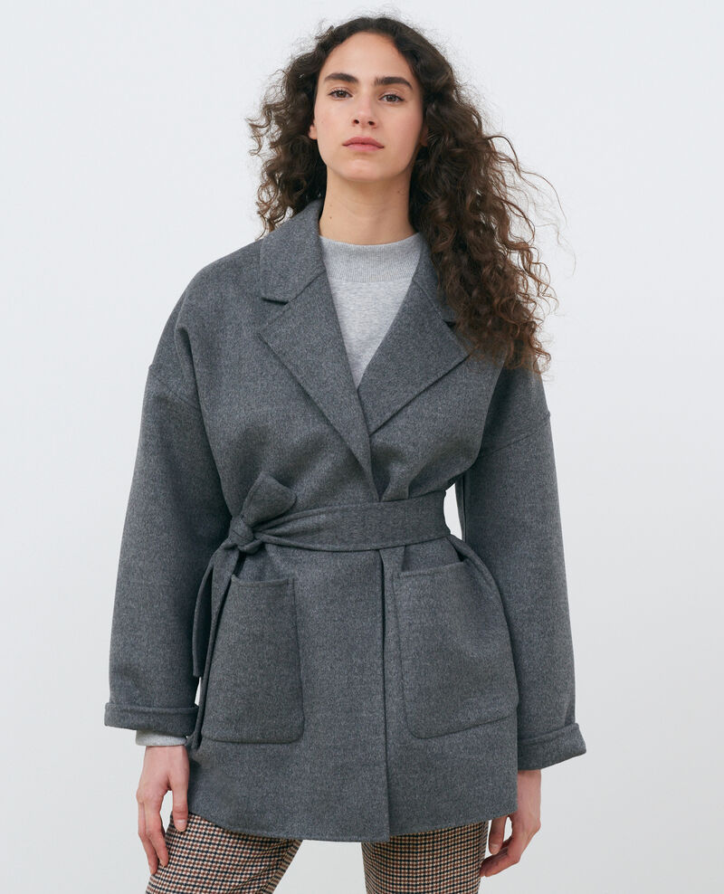 Double-sided wool and cashmere coat Gris chine Pantin