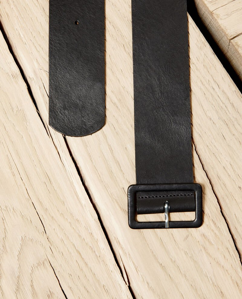 Smooth leather belt Noir Joucle