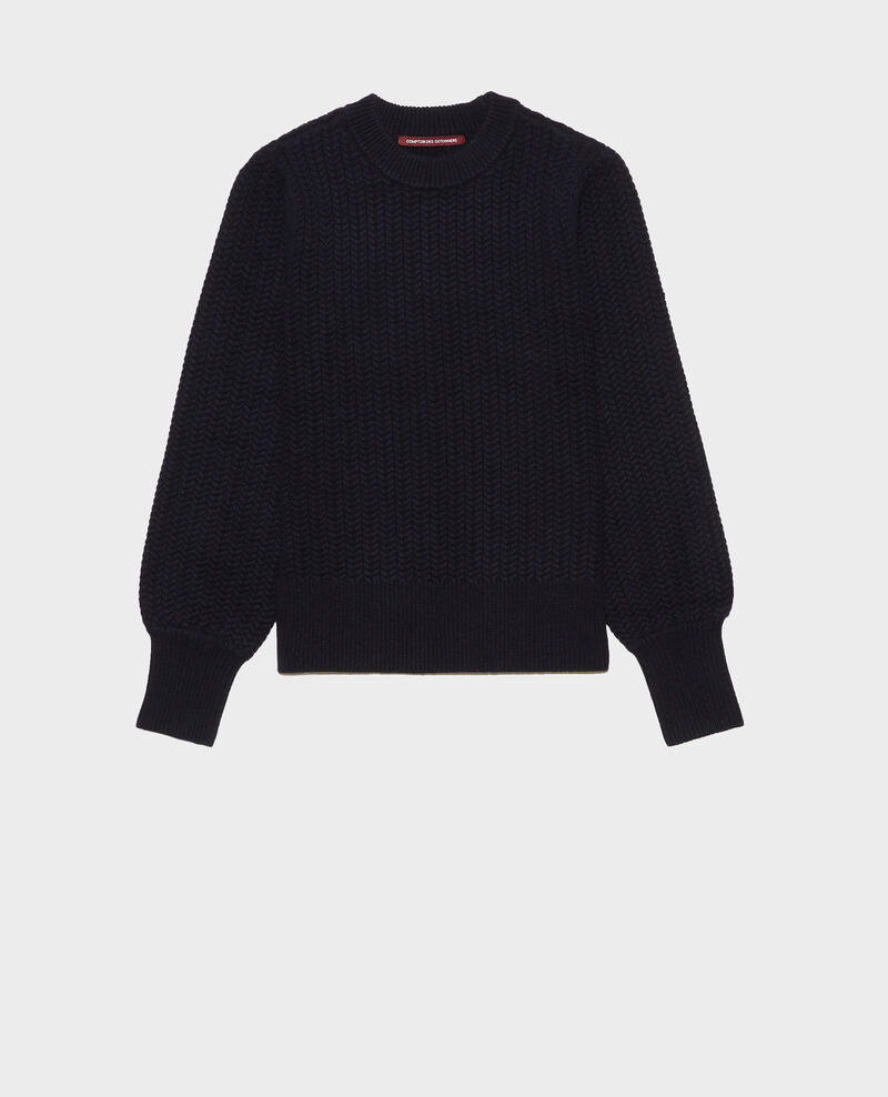 Cable knit round neck wool jumper Night sky Marquise
