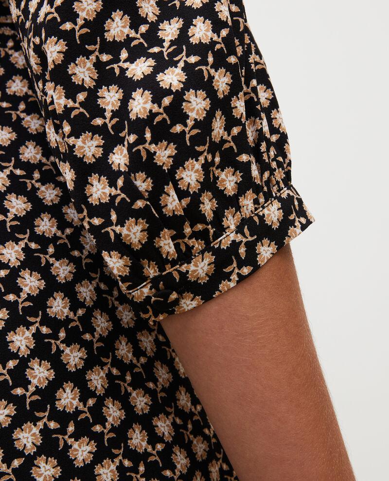 Floral print flared wrap skirt Print fleurettes black latte Miremonta