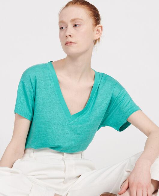 Linen jersey t-shirt BRIGHT AQUA