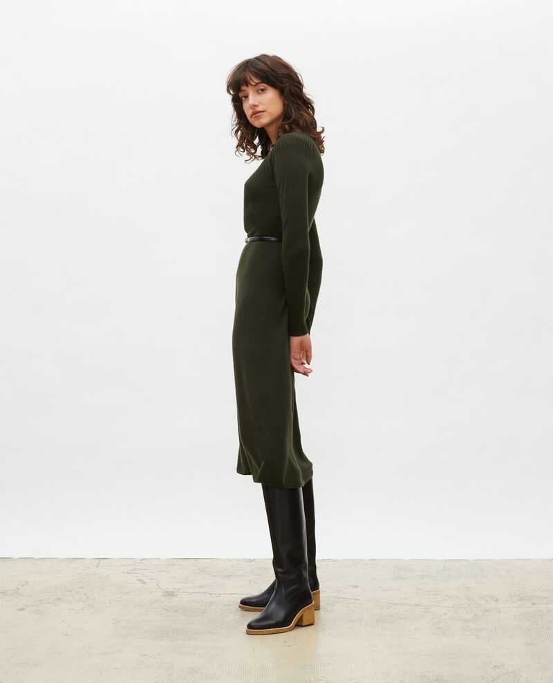 Round neck flared merino wool dress Military green Malouy