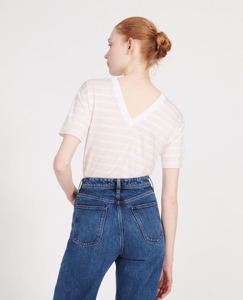 Cotton t-shirt Stripes primrose pink optical white Lisou