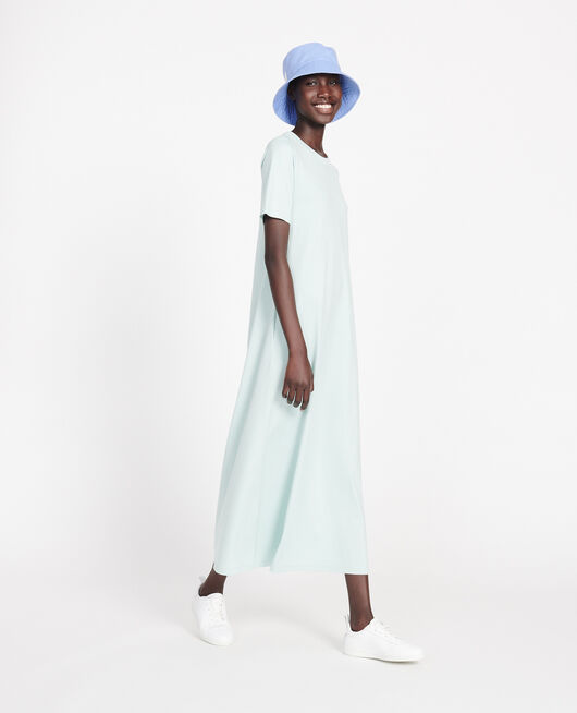 Mercerised cotton maxi dress BLUE HAZE
