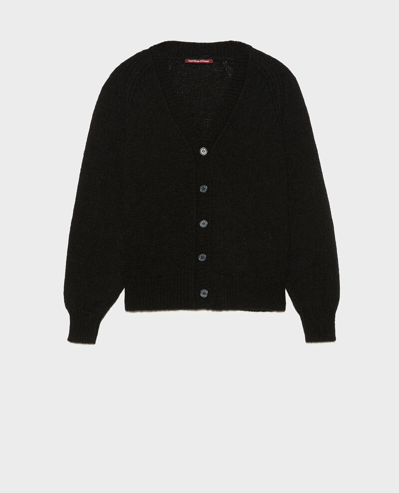 Oversize V-neck wool cardigan Black beauty Montfuji