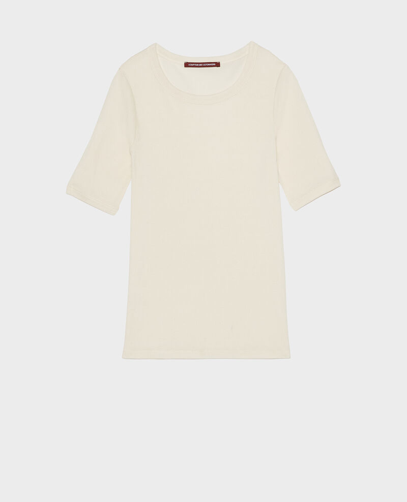 Mercerised cotton ribbed t-shirt Buttercream Lasso