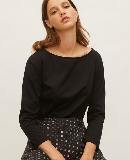 Boatneck long-sleeve cotton t-shirt BLACK BEAUTY