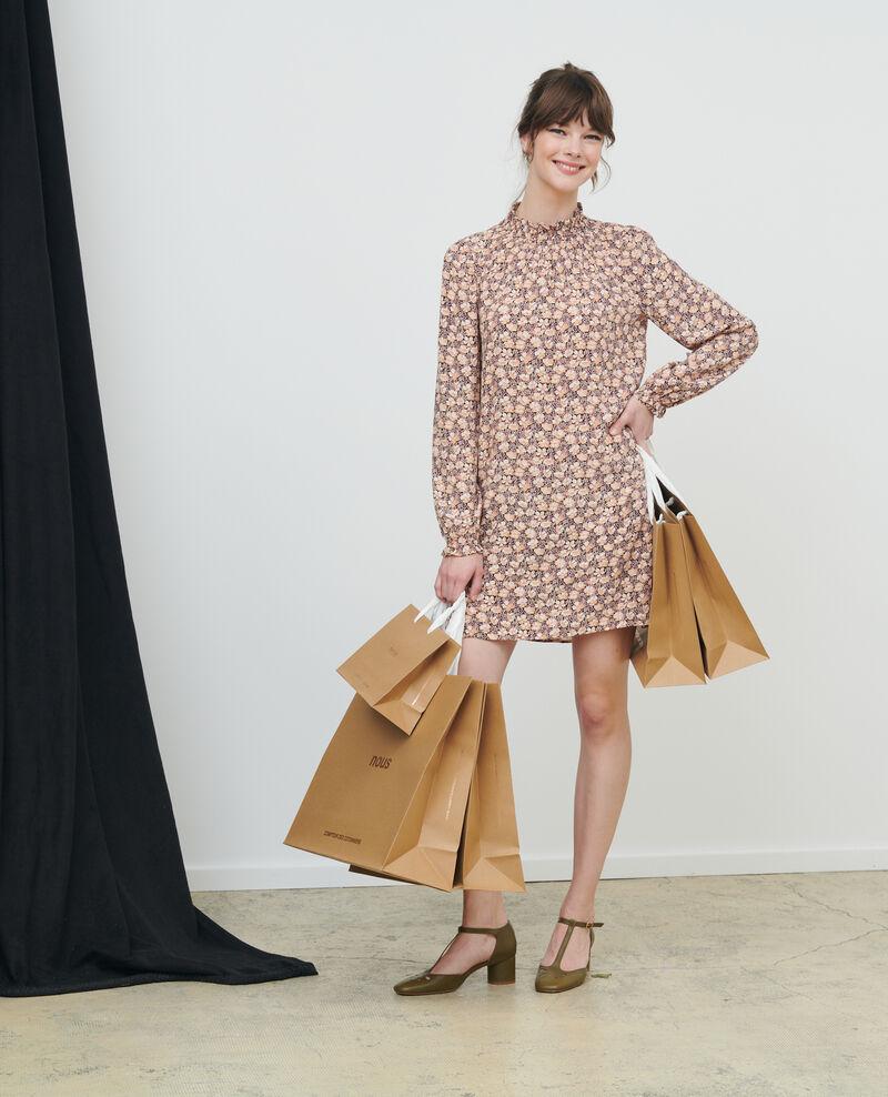 Mini dress with smocking Art deco gold Poisson