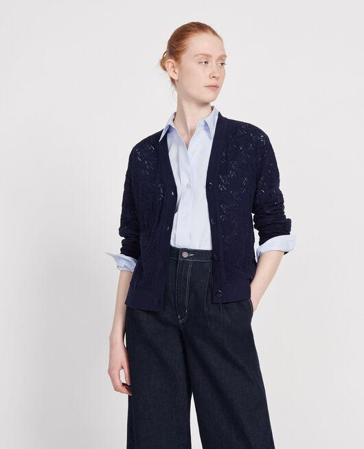 Rib knit cardigan MARITIME BLUE