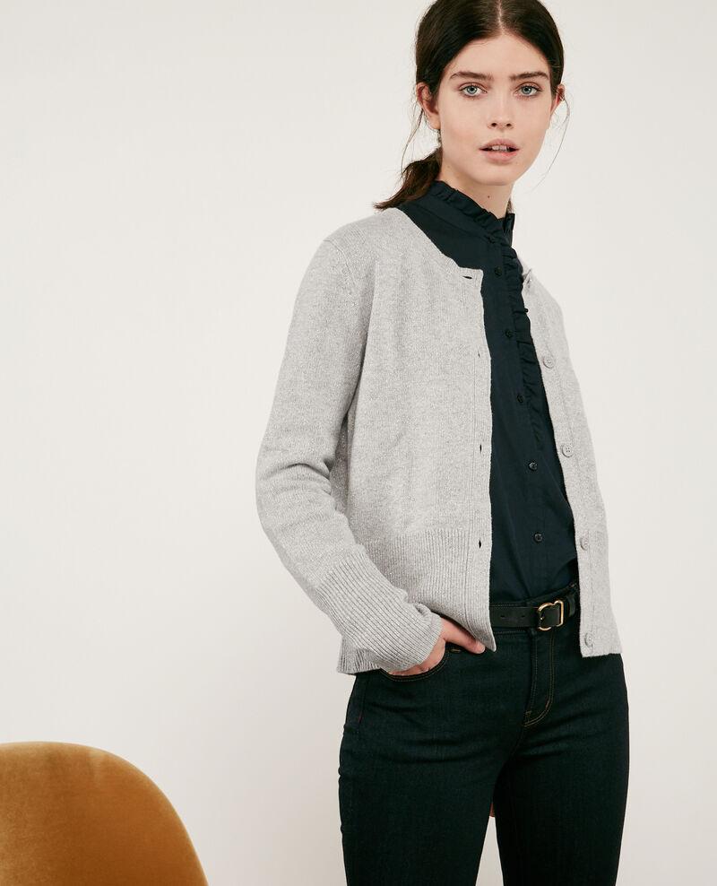 Wool blend shimmering cardigan Light grey Donovan