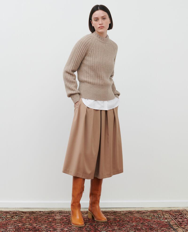 Rib knit new wool jumper Latte Ploido