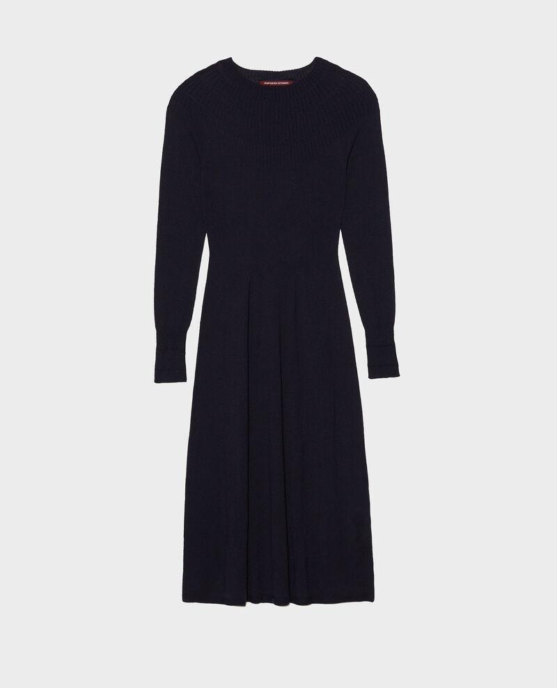 Round neck flared merino wool dress Night sky Malouy