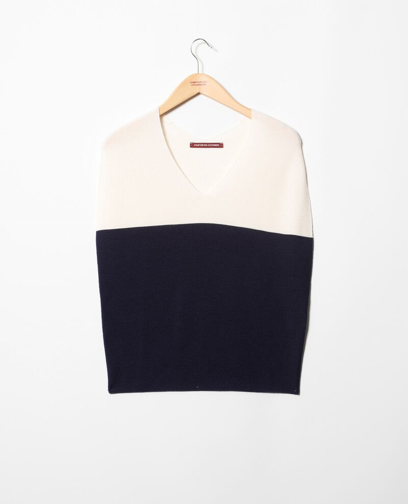 V-cowl neck jumper Champagne/navy Inigme