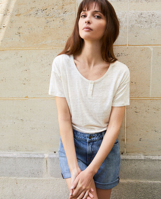 Shiny linen t-shirt OFF WHITE