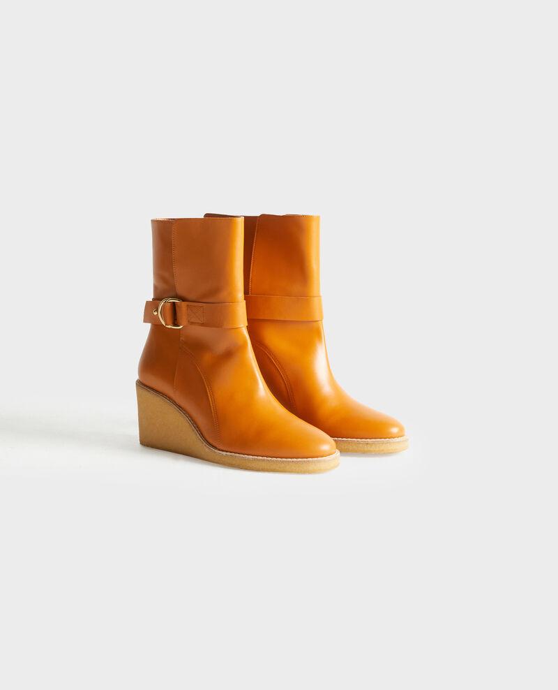 Platform leather ankle boots Camel Perignylarose