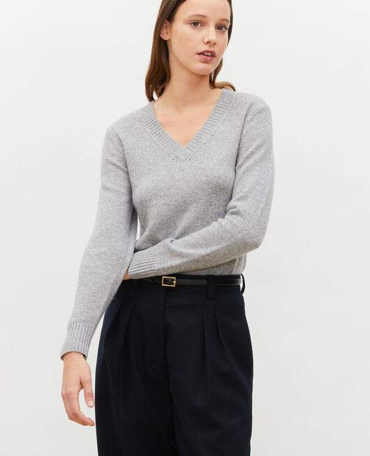 V-neck cashmere jumper LIGHT GREY MELANGE