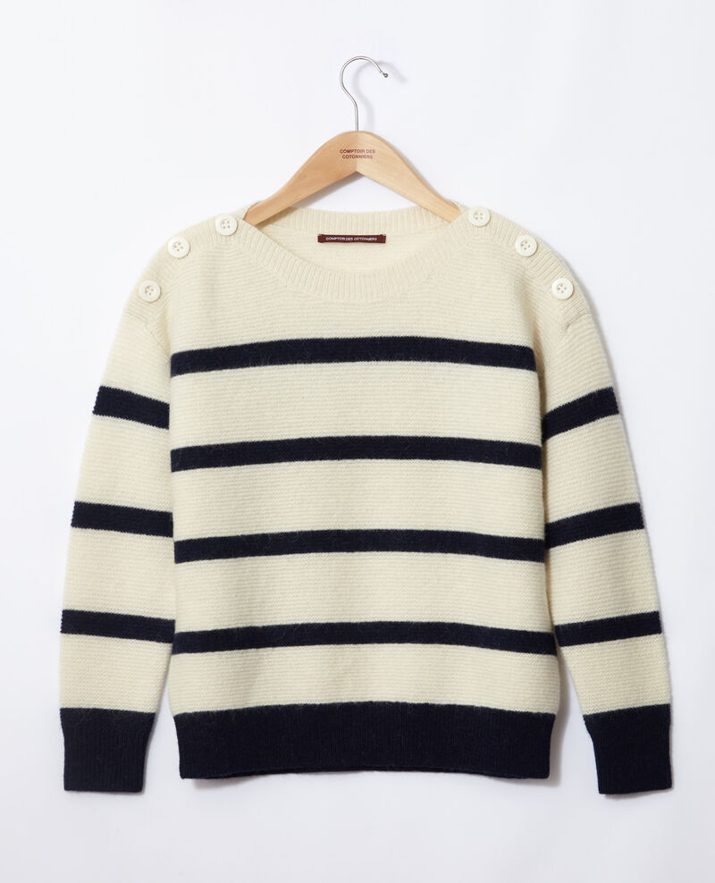 Boat neck jumper Off white/peacoat Gipsy