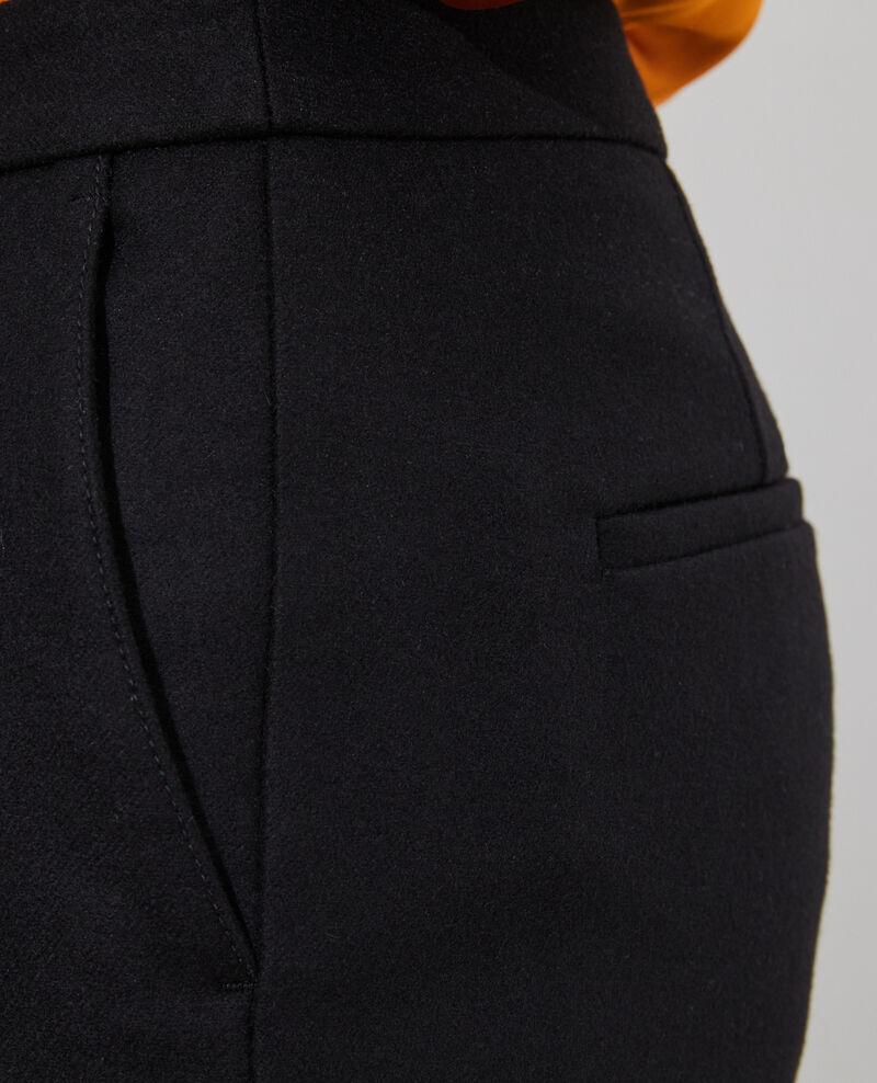 Tapered wool 7/8 trousers  MARGUERITE Black beauty Mokyo