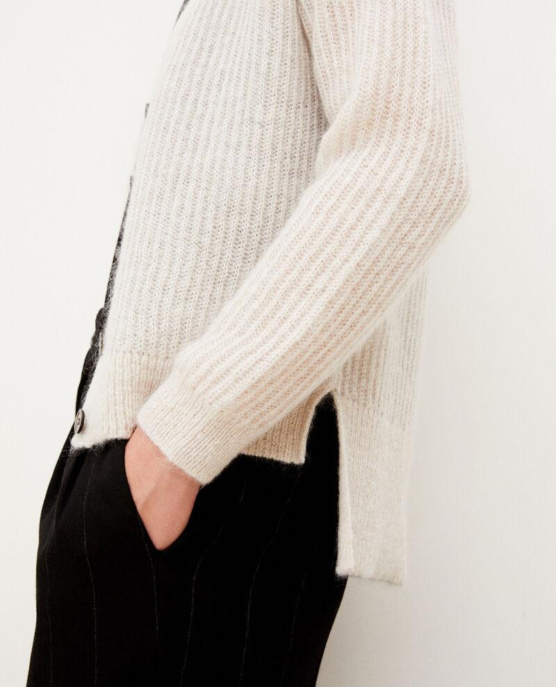 Mohair blend cardigan Silver gray/off white/lurex Guirlande