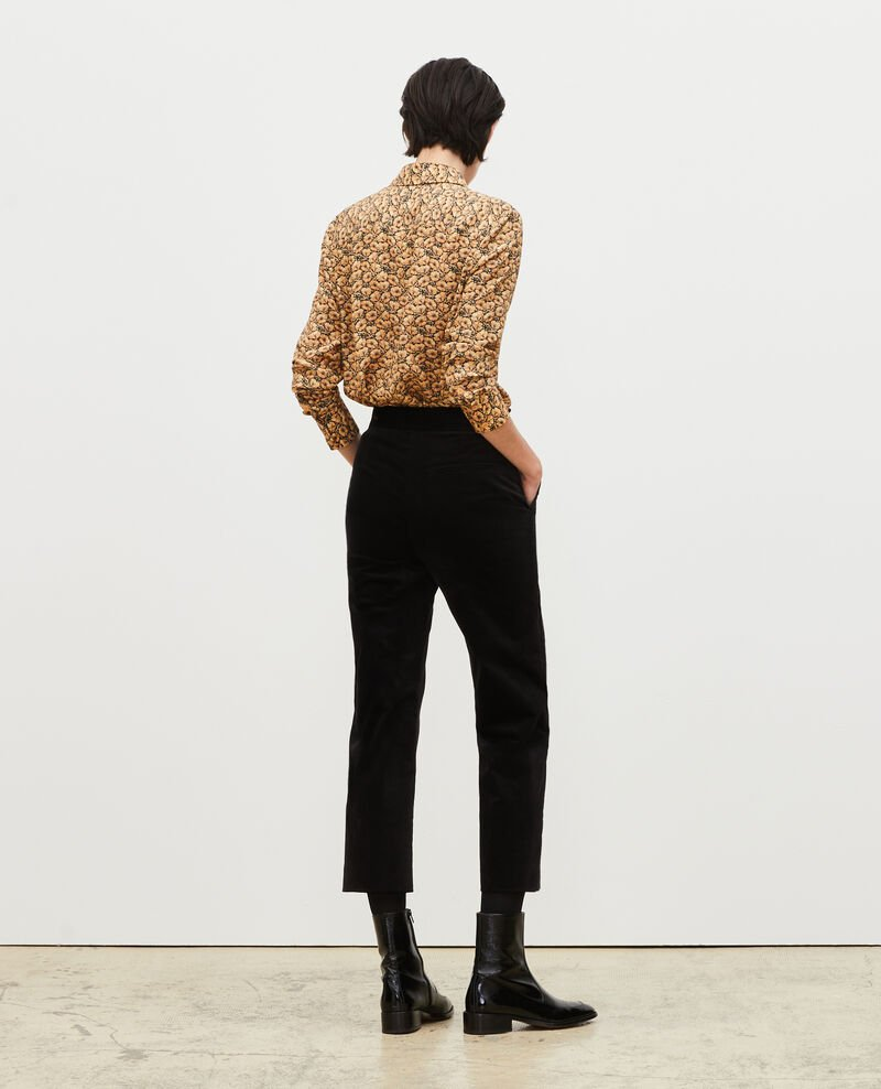 High-waisted 7/8 corduroy flares Black beauty Marousseau