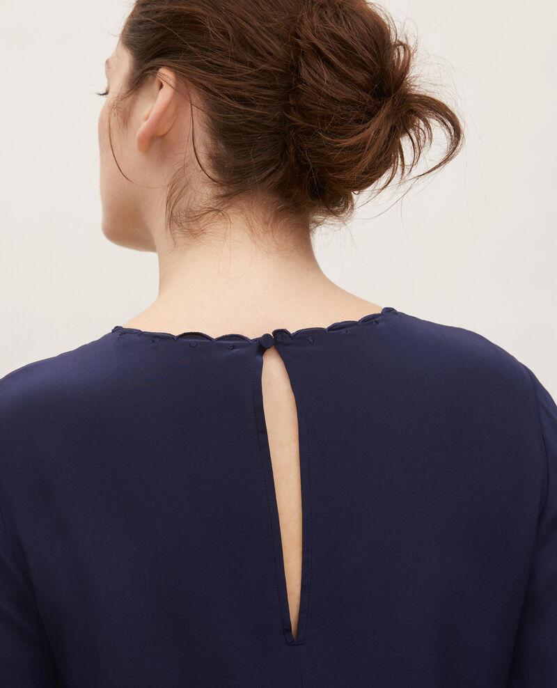 Embroidered silk blouse Maritime blue Lolape