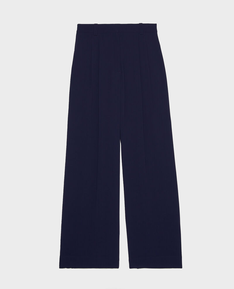 Wide and loose pleated trousers in viscose Maritime blue Logance