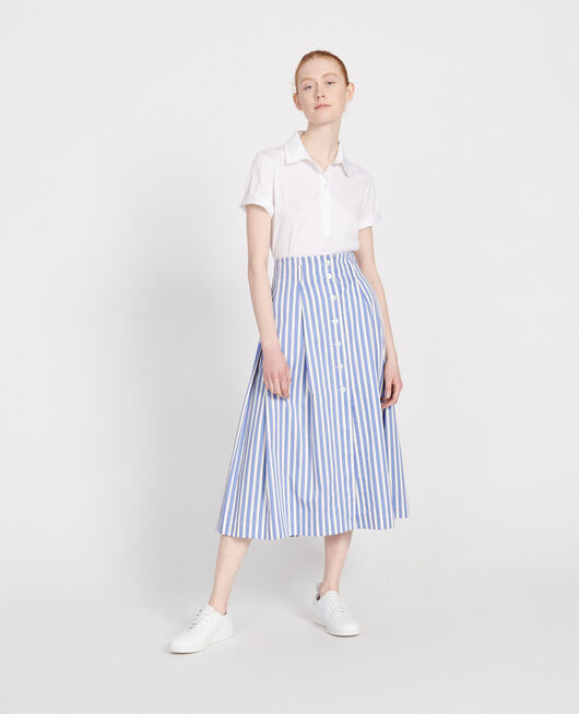 Cotton skirt STRIPES LIGHT GREY PERSIAN JEWEL