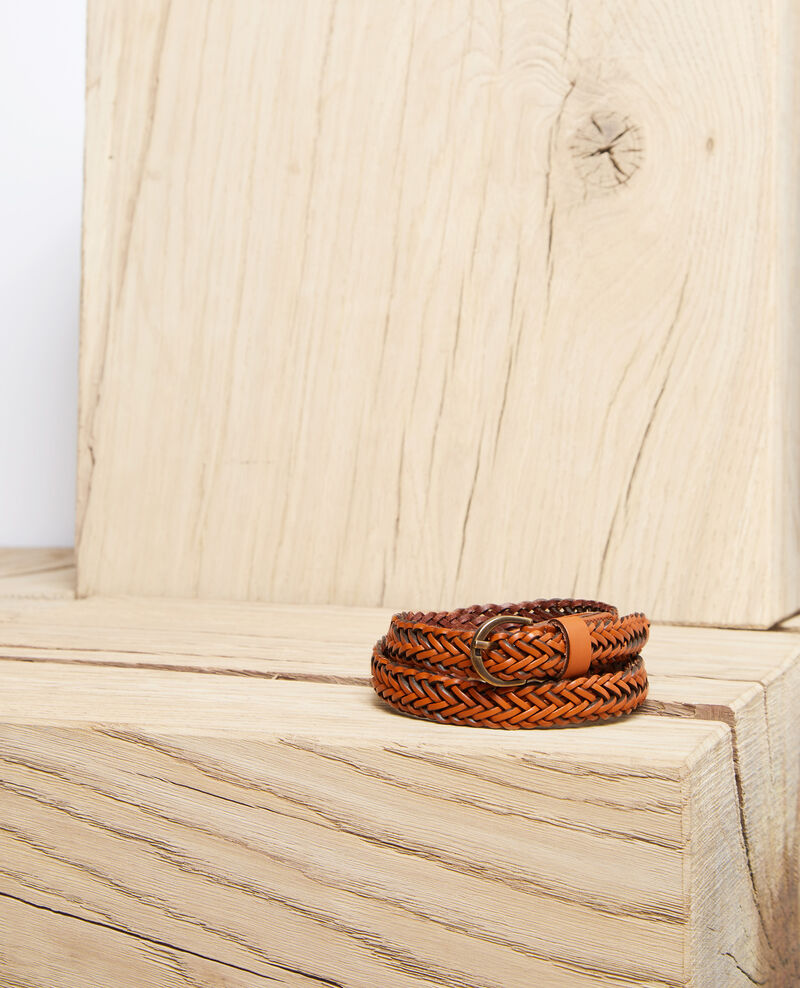 Small braided leather belt Camel Ivobi