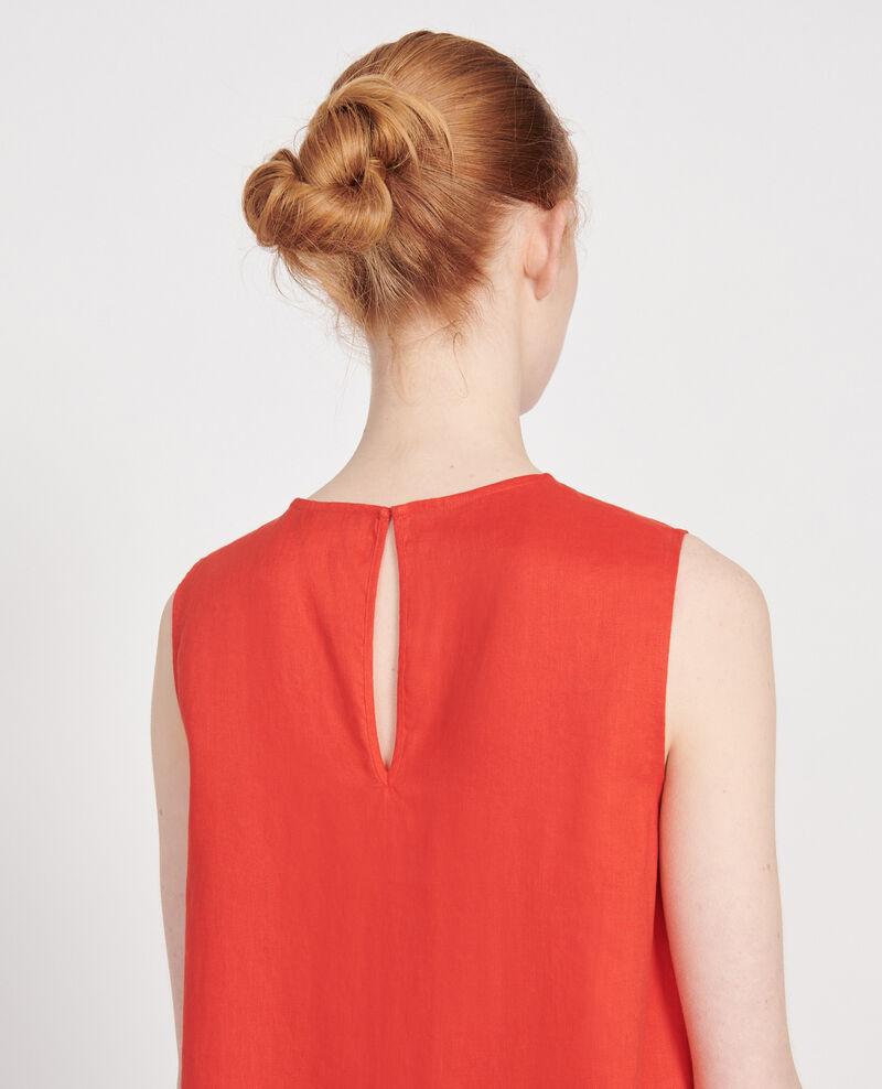 100% linen dress Fiery red Lux