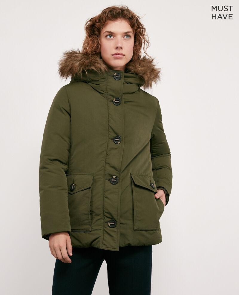 Down jacket with removable faux fur trim Kaki Dasual