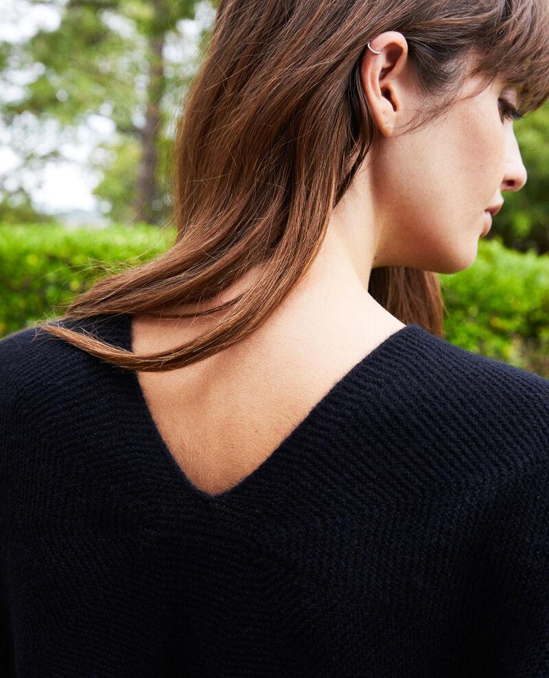 V neck cashmere jumper 100% cashmere Noir Jonka