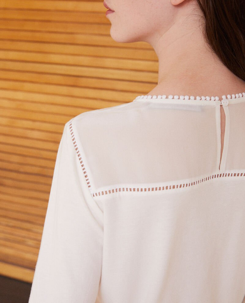 Bimaterial T-shirt with pompom details White Glivoire