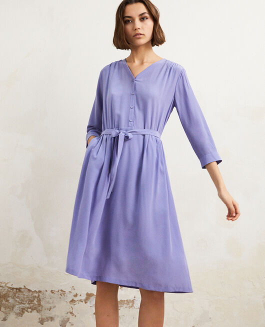 Midi silk-blend dress Violet
