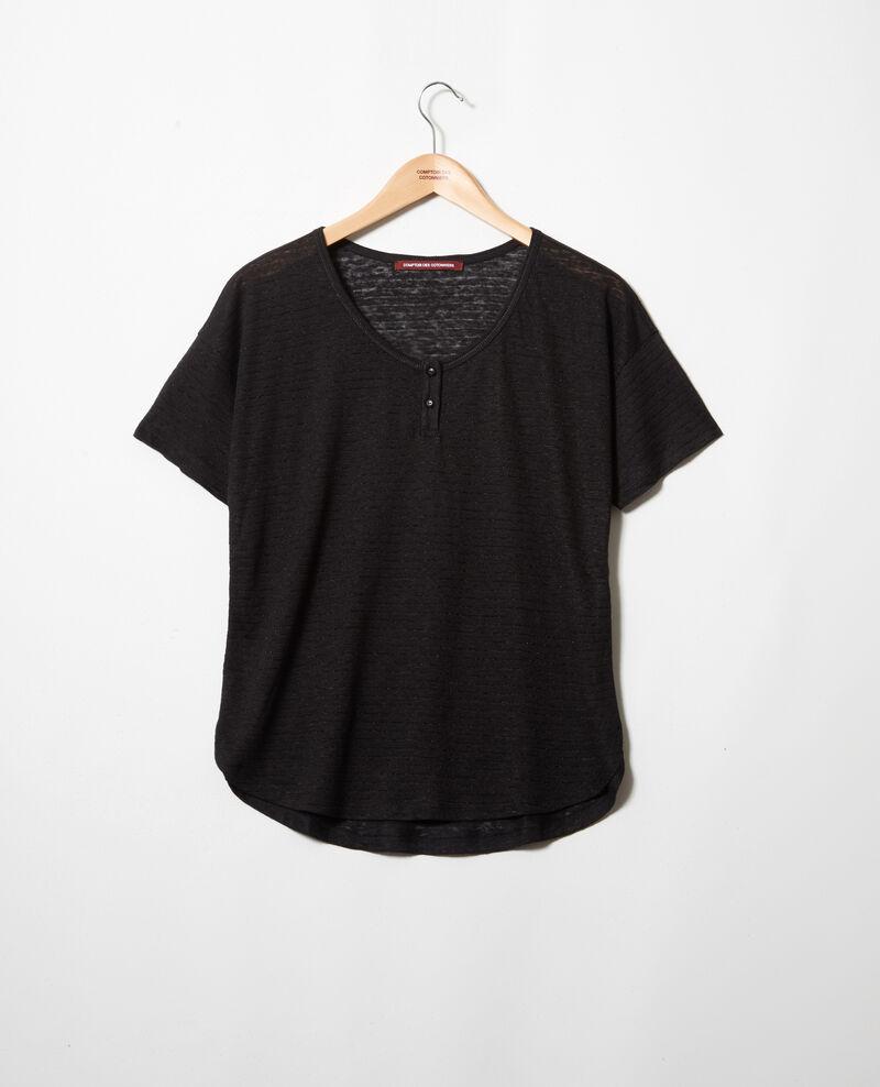 Linen-blend shiny T-shirt Noir Imape