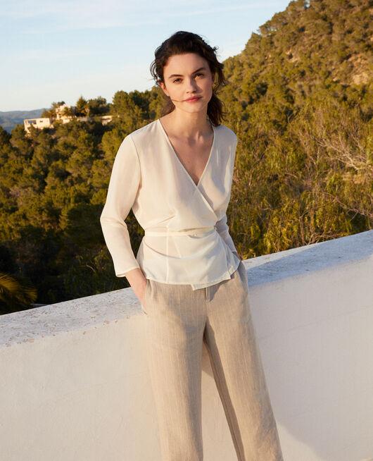 Silk wrap blouse OFF WHITE