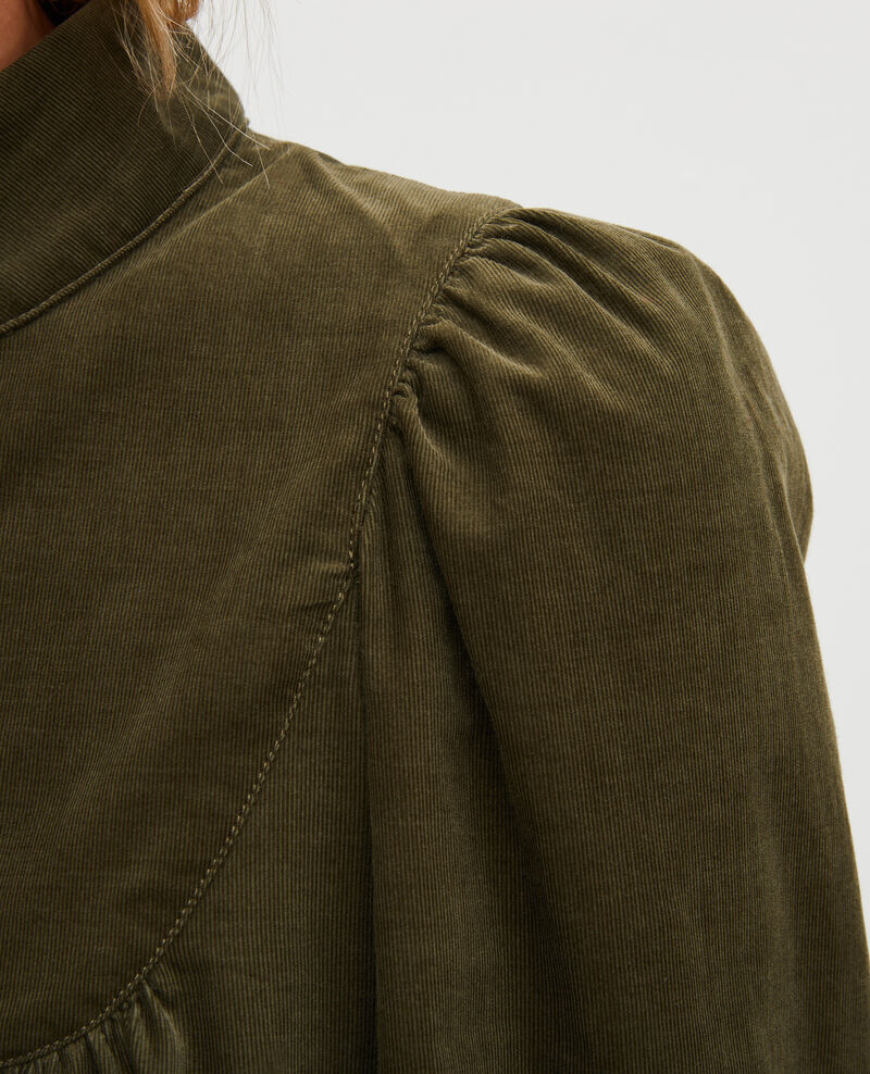 Corduroy yoke smock dress  Military green Marcheville
