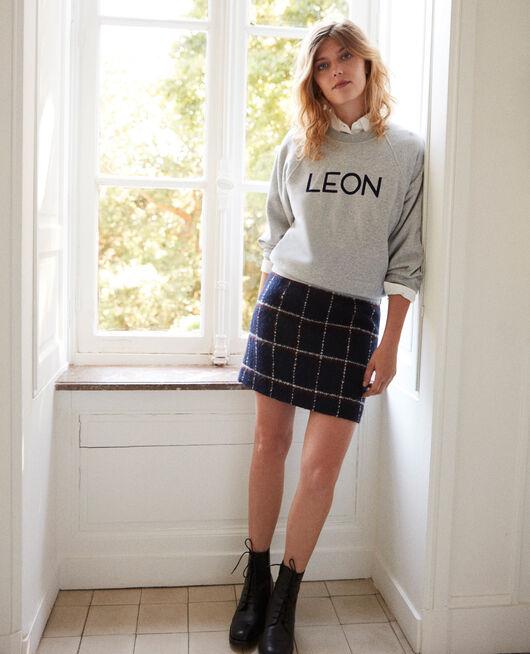 Straight skirt NAVY CHECKS