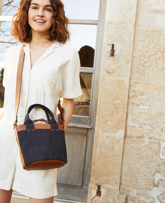 Canvas and leather handbag DARK NAVY
