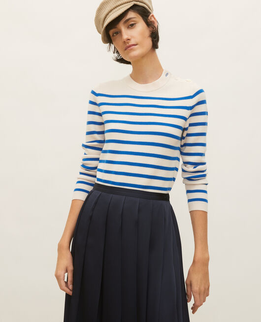 Striped wool jumper STRIPES PRINCESS BLUE GARDENIA