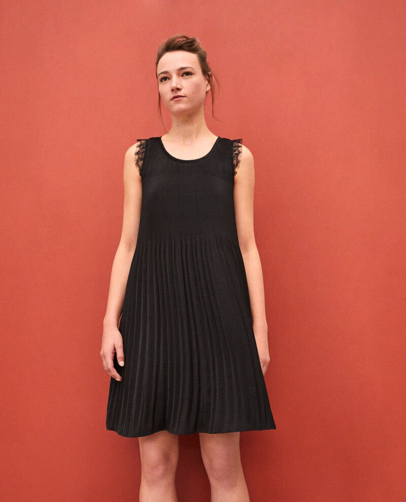 Pleated dress with lace Black Garla