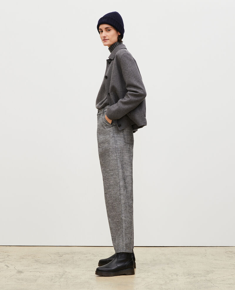 PLEATED - Wide grey denim trousers Grey wash Maples