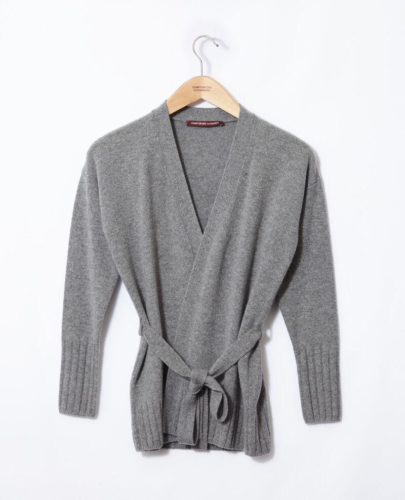 Wrapover cashmere cardigan Light heather grey Germain