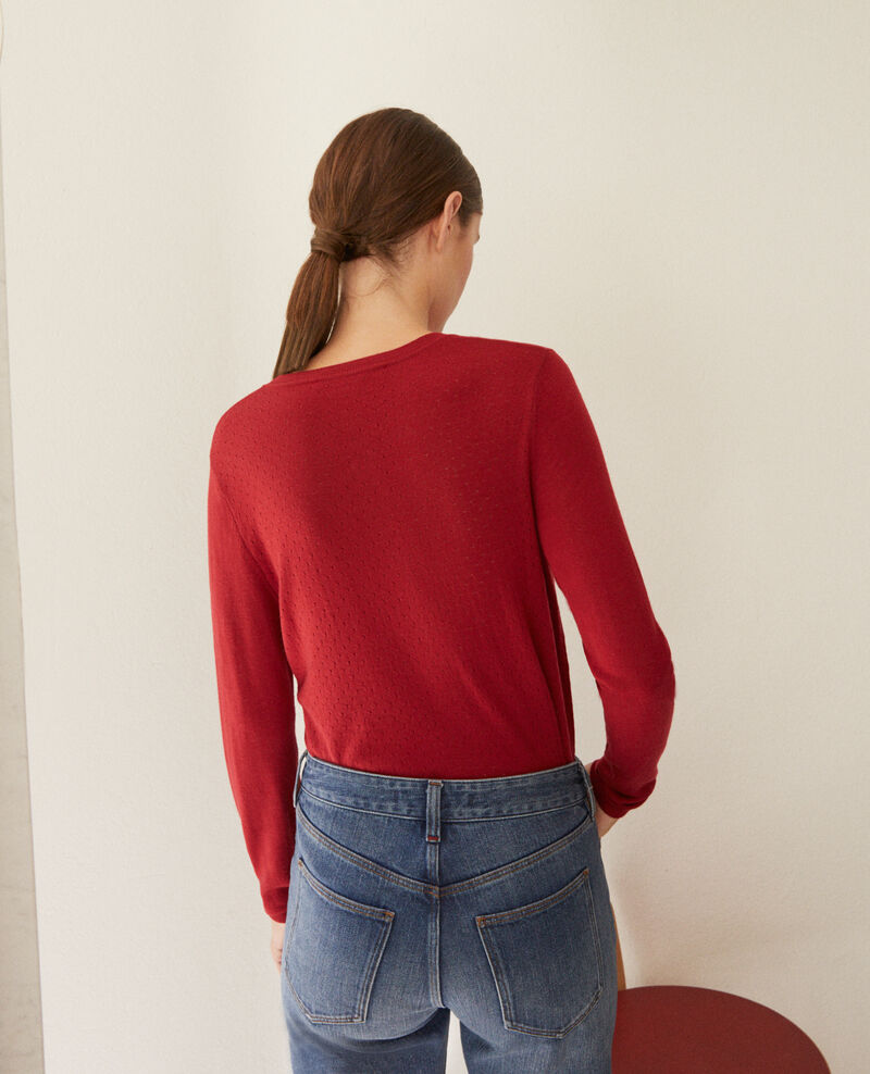 Merino wool cardigan Rio red Godard