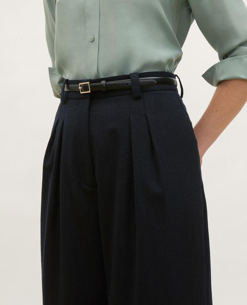High-waisted wide wool trousers YVONNE Night sky Mofare
