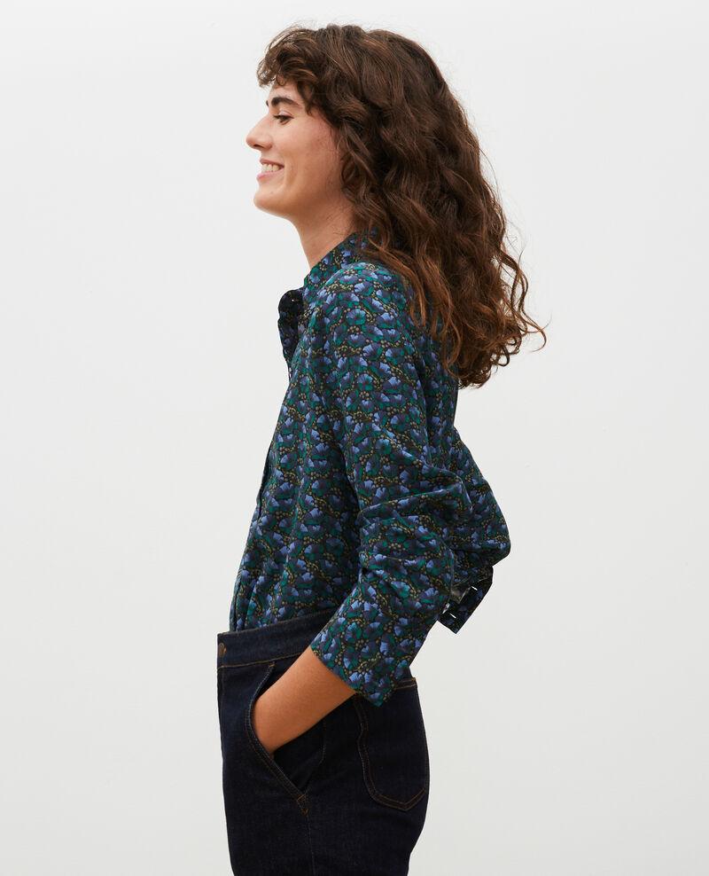 Long-sleeve silk shirt Print artdeco darkgreen Misabethou
