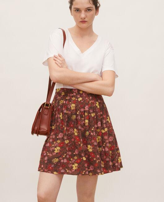 Floral silk flared mini skirt PRINT EDEN TORTOISESHELL